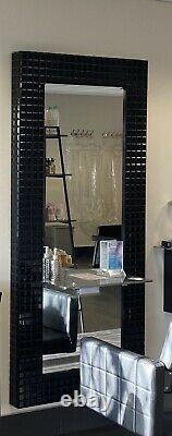 6 X REM Wall Mount Hairdressing Styling Units, Black Gloss with Cast Metal Shelf
