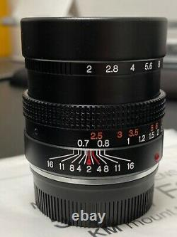 Almost Unused Konica M-HEXANON 50mm F2 MF Lens for Leica M Mount