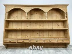 LARGE Vintage Farmhouse Pine Kitchen Wall Mounted Shelving Unit Drawers E09