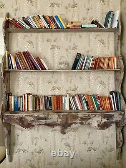 Large, attractive, well made wooden shelving unit, distressed & wall mounted
