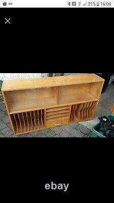 Teak Vintage wall mounted Record large Storage Unit
