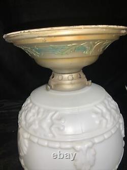 Antique Célier Mont Lumière Fixture Unité Lumineuse Co Art Deco Lait Glasse